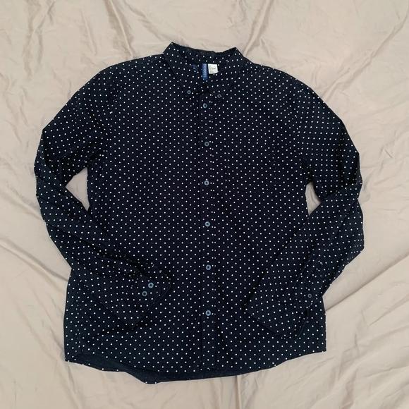 25ad03c96 Divided Shirts   Hm Polka Dot Navy Buttondown   Poshmark